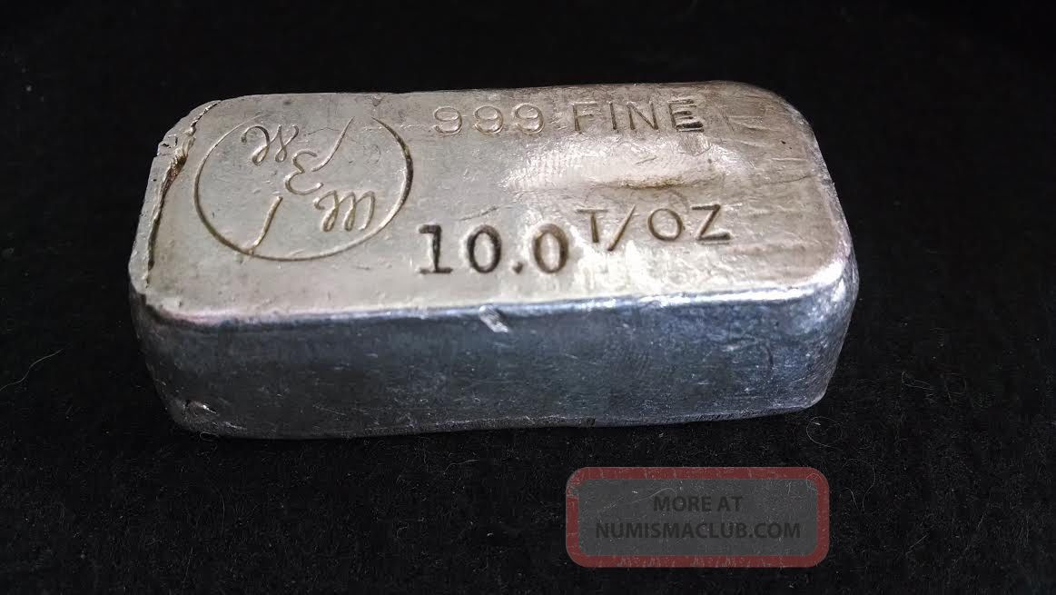 W Amp M 10 Oz 999 Old Hand Pour Silver Loaf Bar Antique Rare