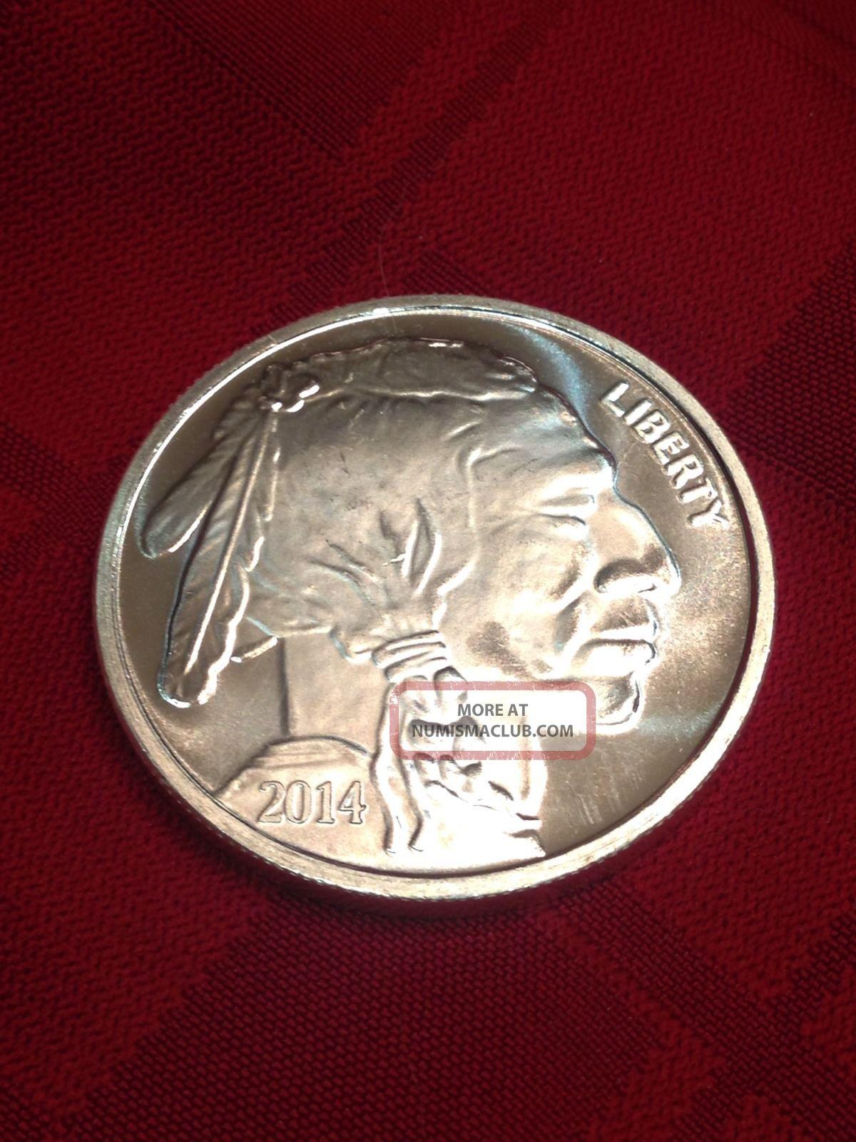 Indian Buffalo Head Round One Troy Ounce 999 Fine Silver