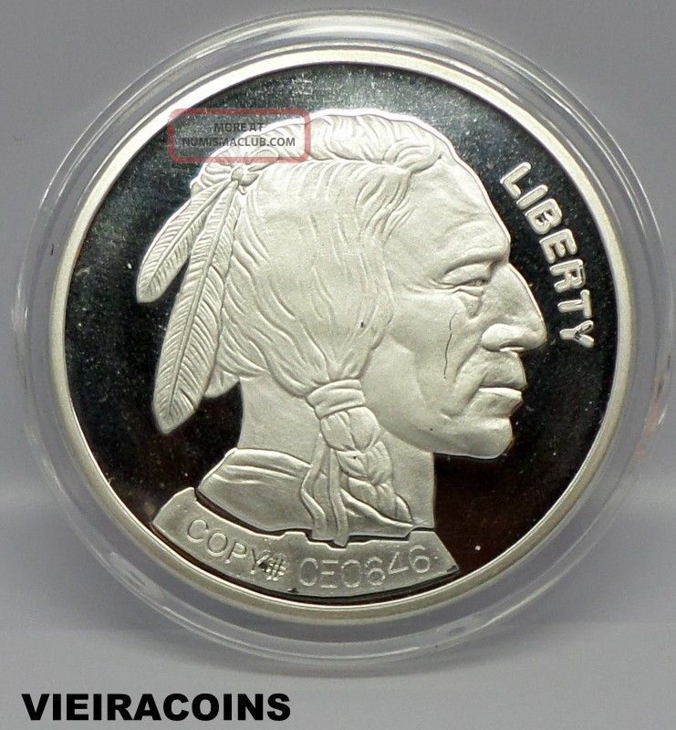 2001 Buffalo Indian Silver Round 1 Troy Oz 999 Fine