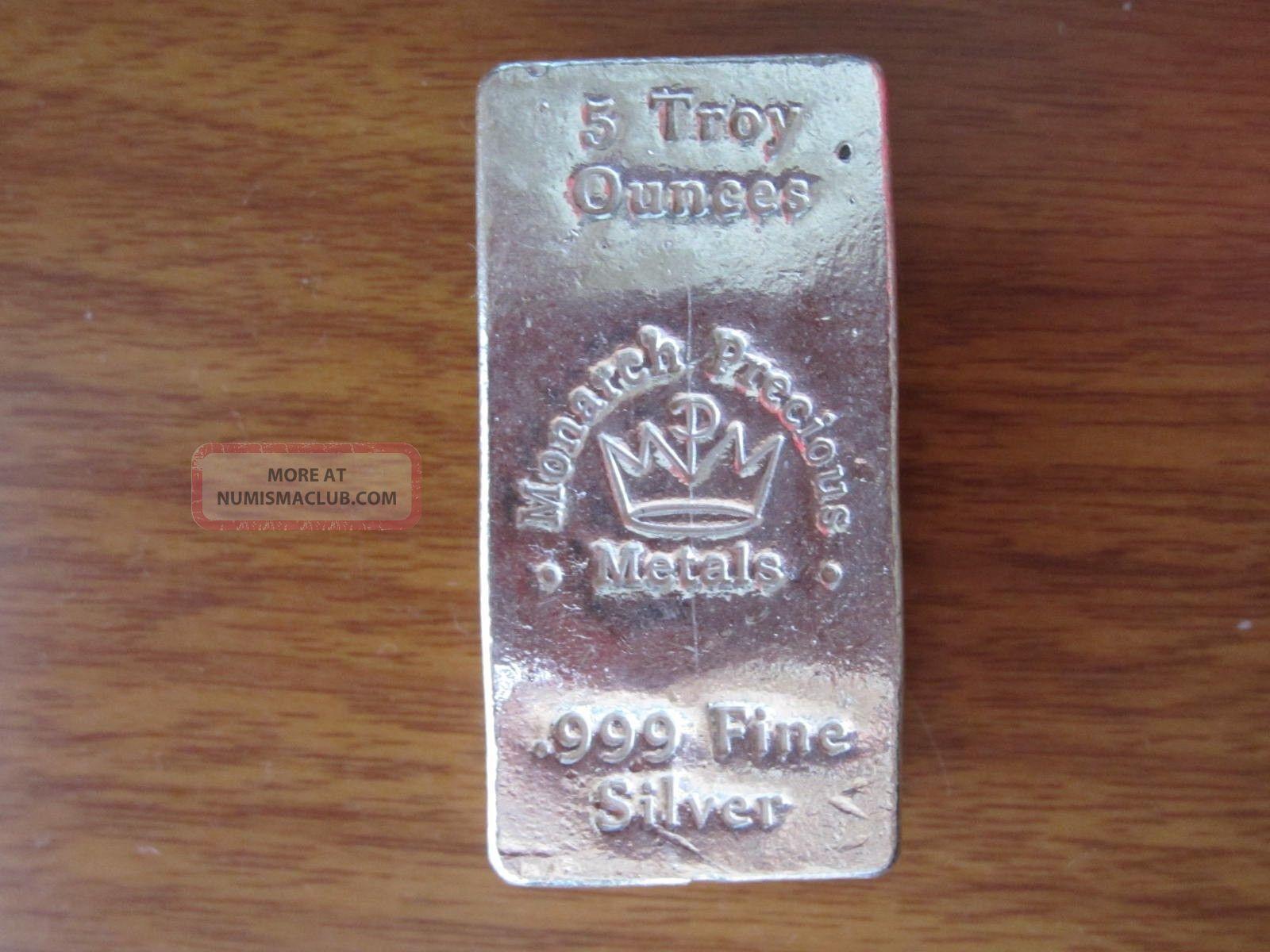 5 Oz Troy Breadloaf Bar Monarch Precious Metals 999 Silver