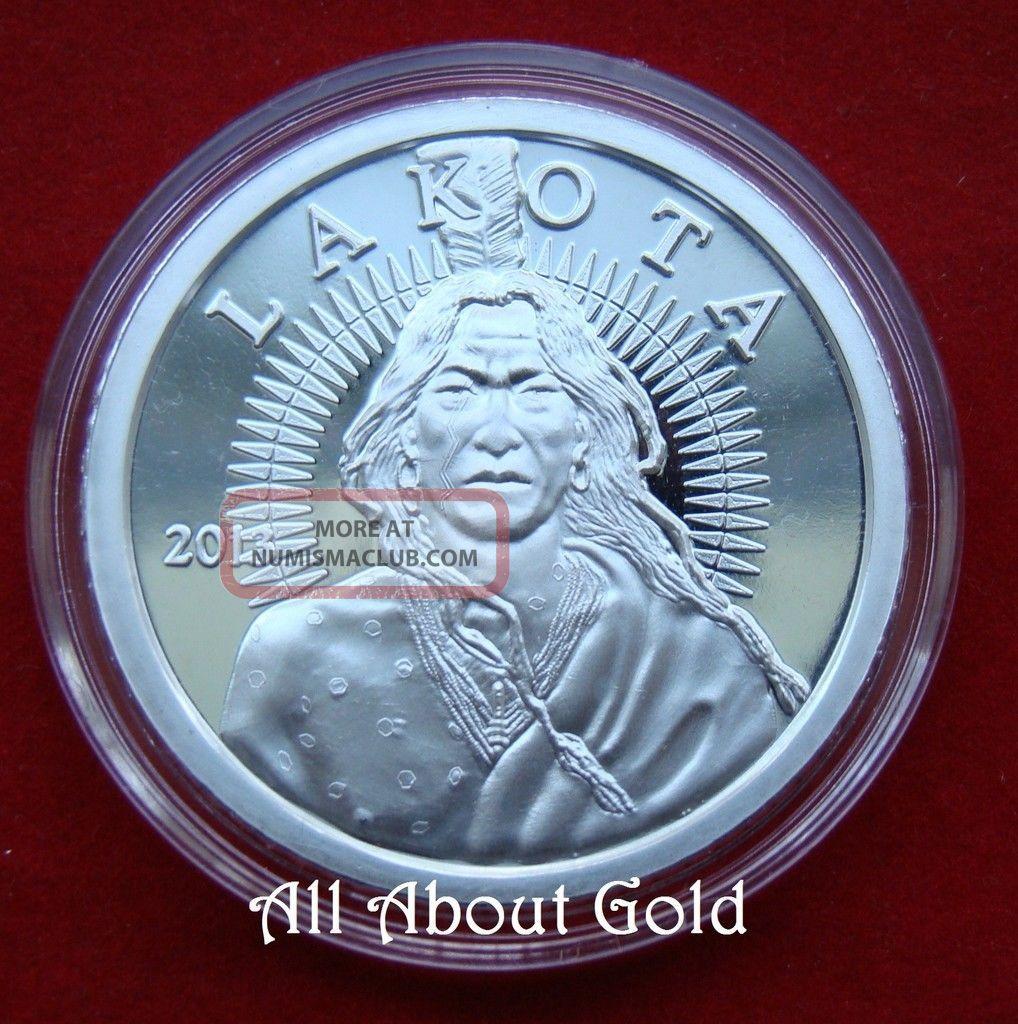Solid Silver Round 2013 1 Troy Oz Indian Lakota Crazy
