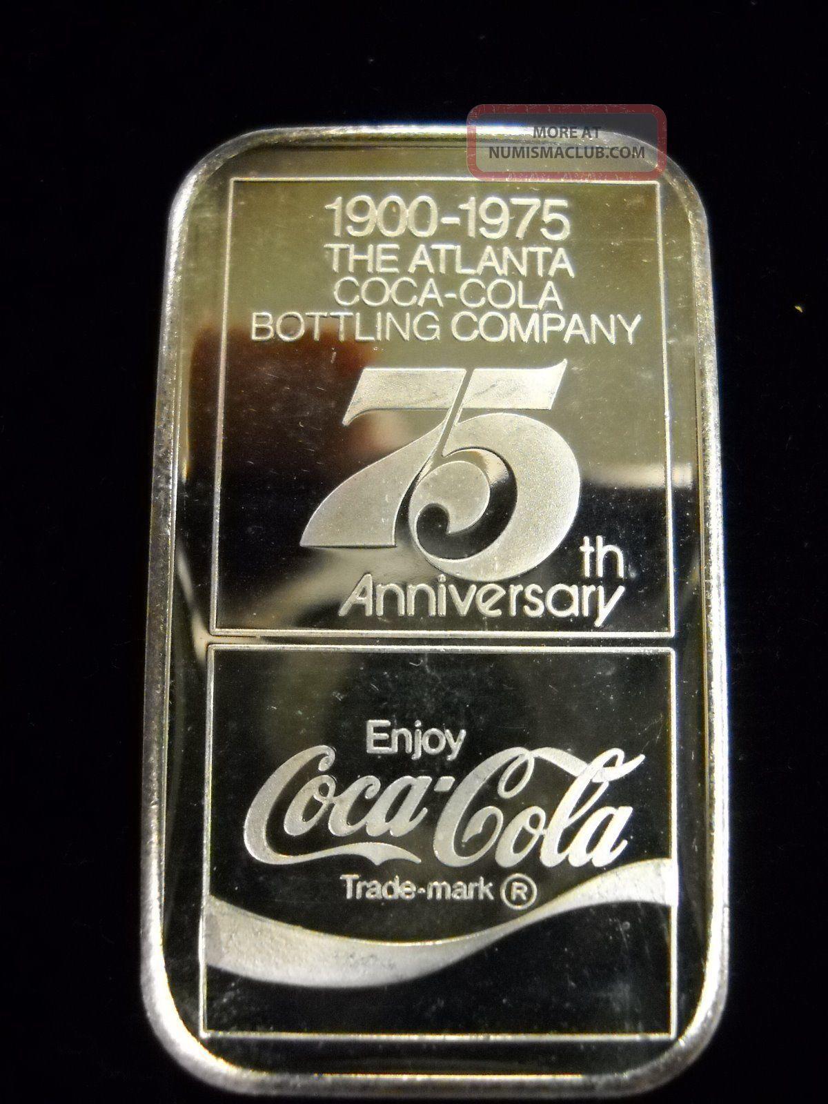 1900 1975 Coca Cola 75th Anniversary 999 Fine Silver