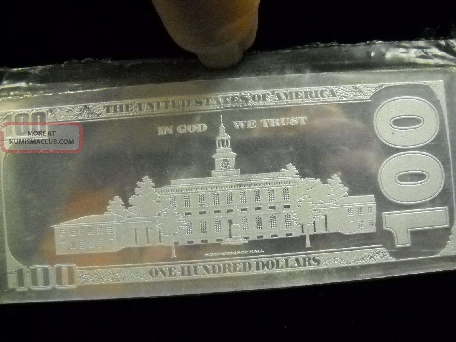 100 Dollar 999 Fine Silver Bill Bar 4 Troy Ounces