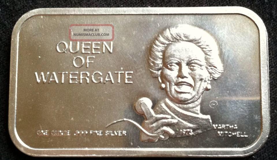 1 Oz 999 Fine Silver Queen Of Watergate Martha Mitchell Bar