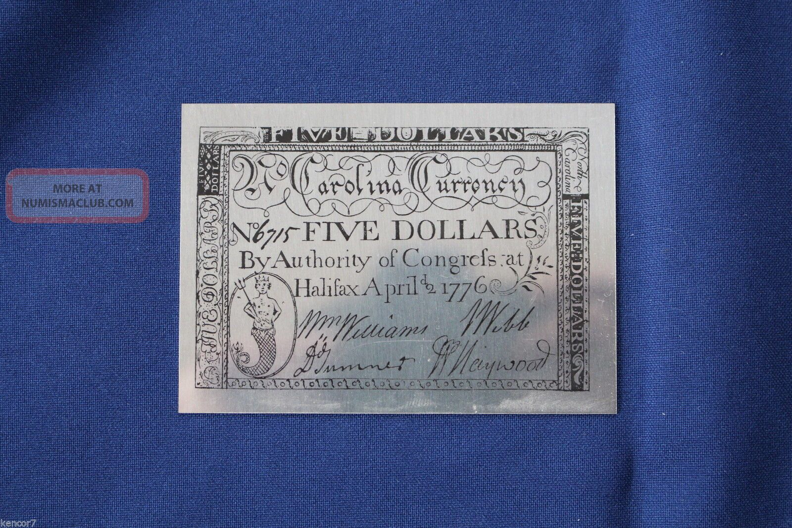 1977 North Carolina Five Dollars 1776 Sterling Silver Note
