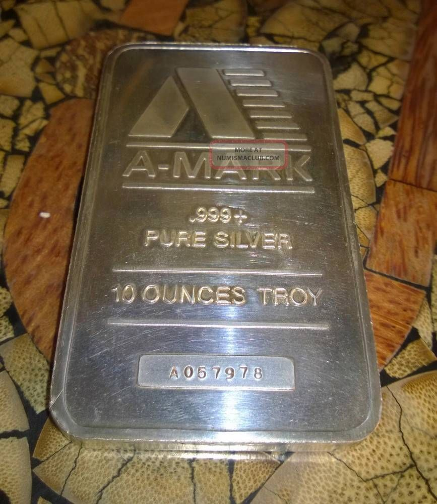 A Mark 10 Troy Ounce Bar 999 Pure Fine Silver