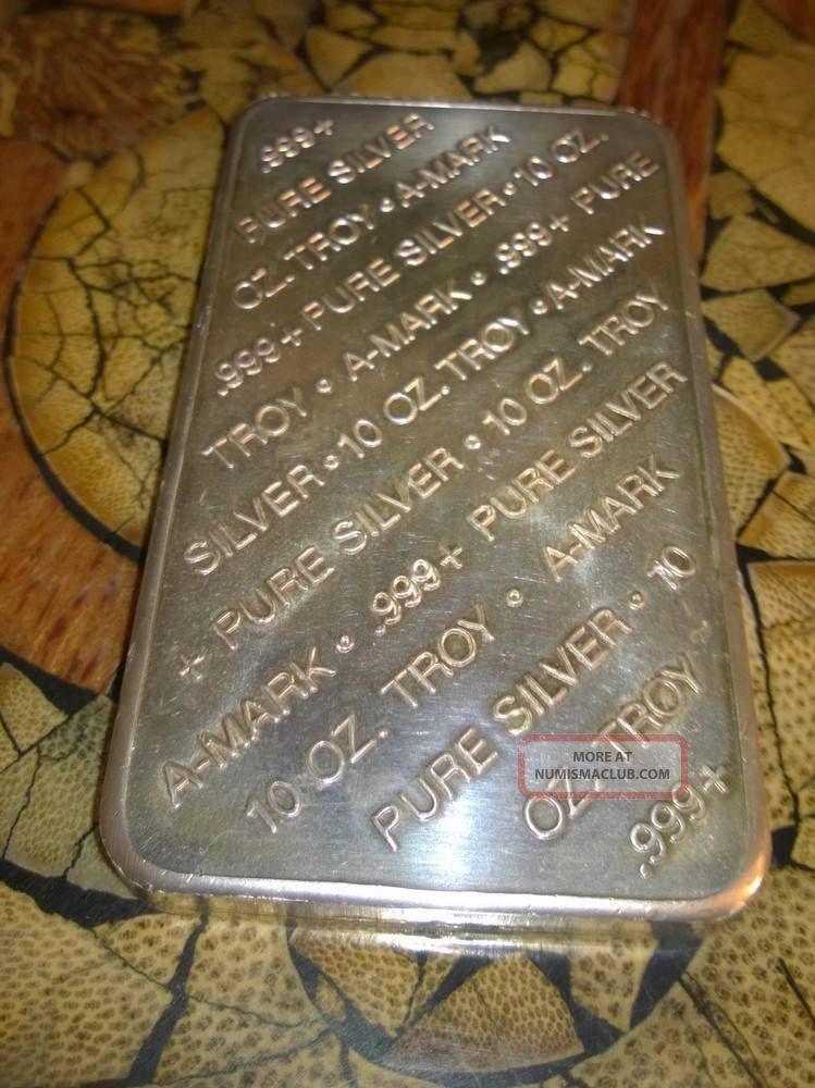 A Mark 10 Troy Ounce Bar 999 Pure Fine Silver