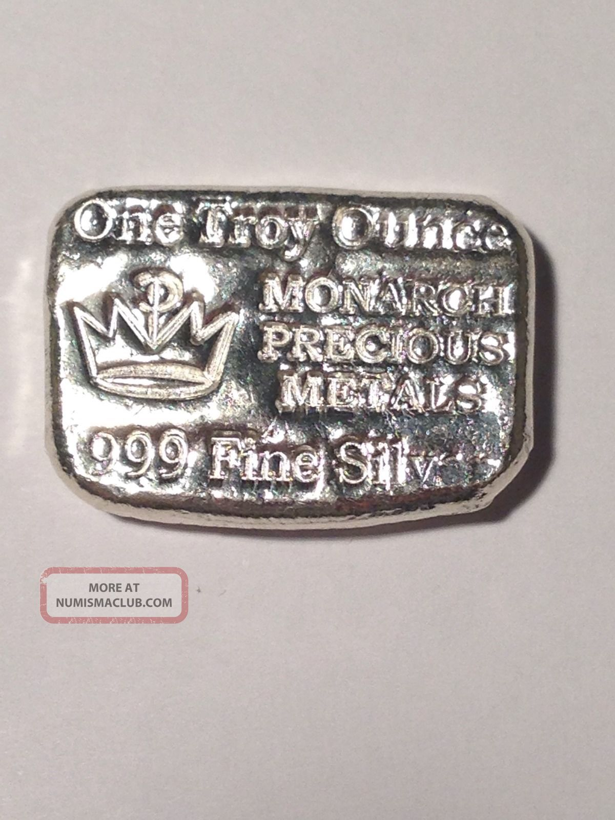 1 Troy Ounce Monarch Precious Metals 999 Fine Silver Hand