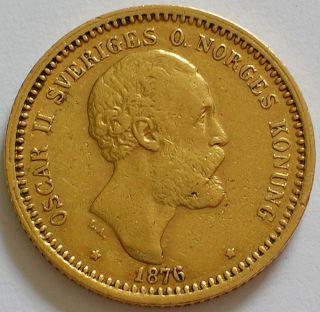 1876 Kingdom Of Sweden Oscar Ii Gold 10 Kronor Coin photo