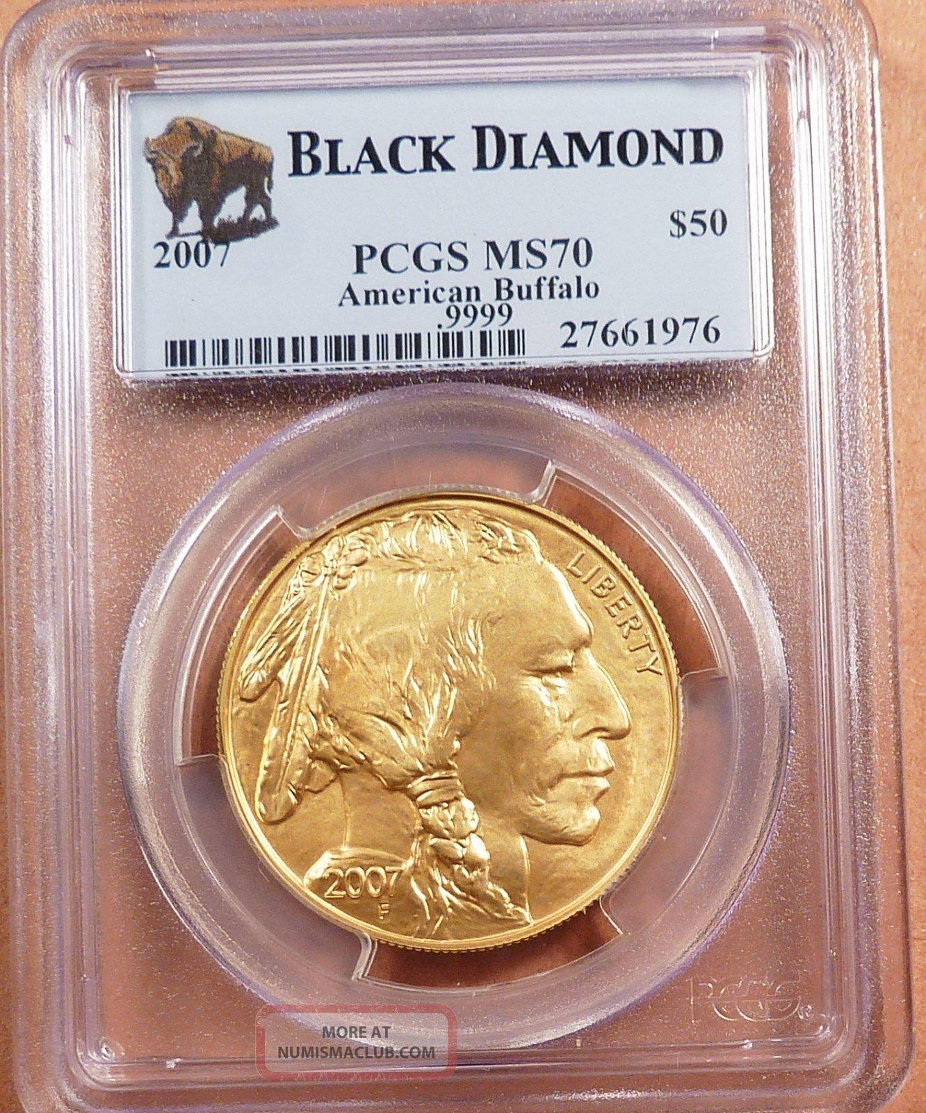 2007 50 Buffalo Gold Pcgs Graded Ms70 Black Diamond 1