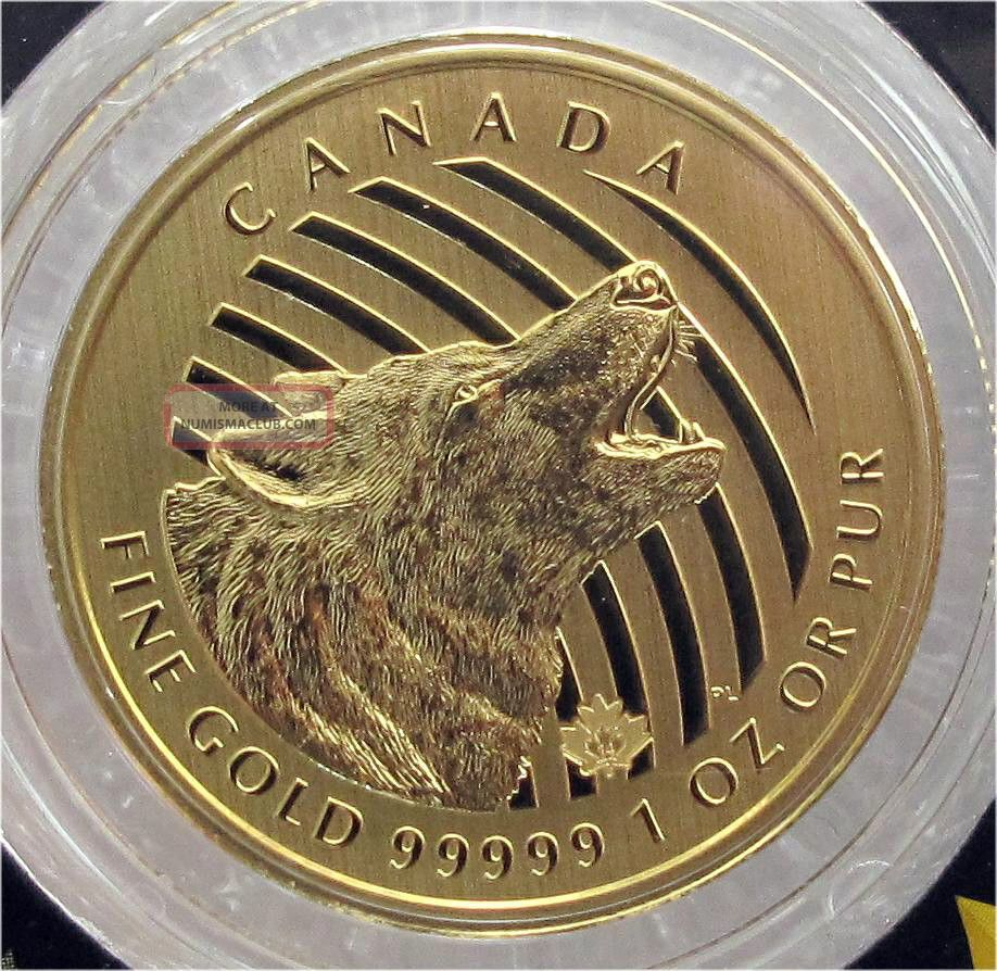 2014 Canada 200 Dollars Gold Coin Howling Woolf 1 Oz