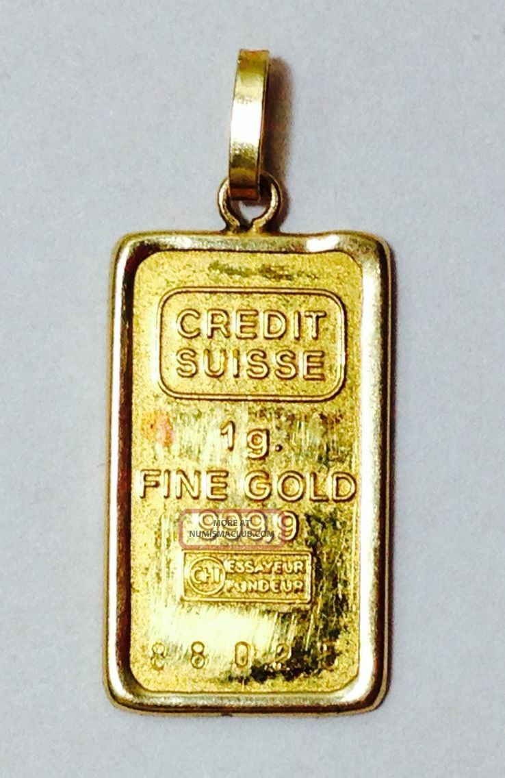 Credit Suisse 1 Gram Pure Gold Bullion Bar 999 9 Fine Gold