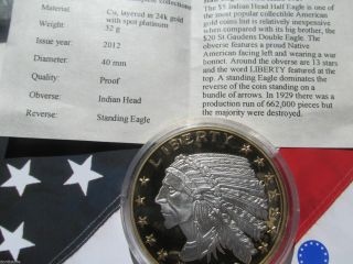 Standing Eagle Indian Head In 999 Pure Patinum & 24k Goldw/ photo