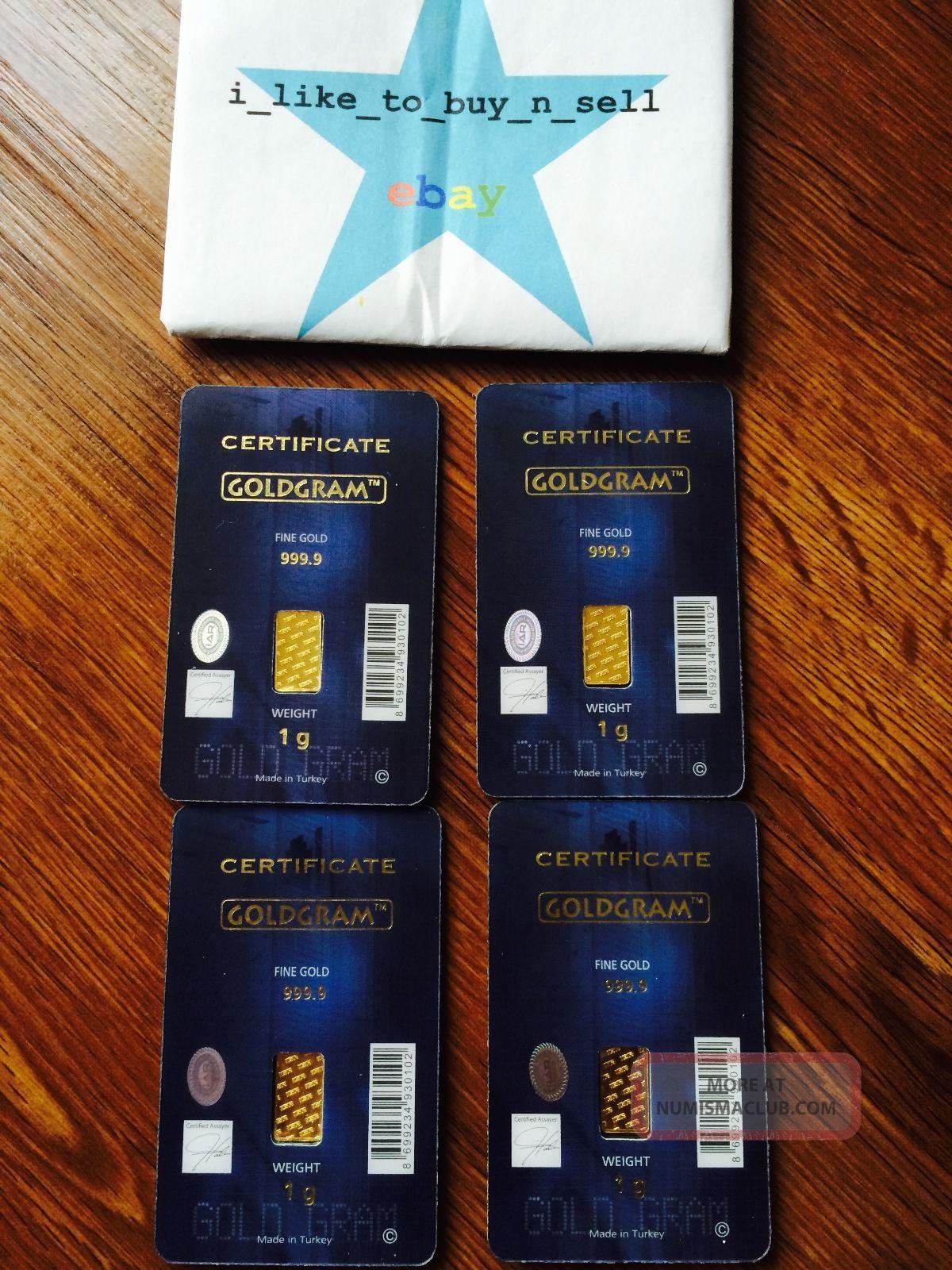 4 X 1 Gram 999 9 24k Gold Bullion Igr Bar Lbma Certificate