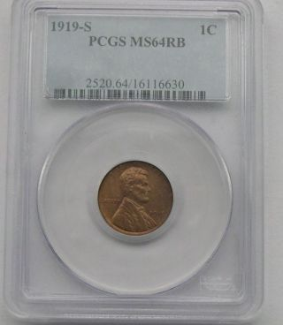 1919 - S Pcgs Ms - 64 Red & Brown Lincoln Cent photo