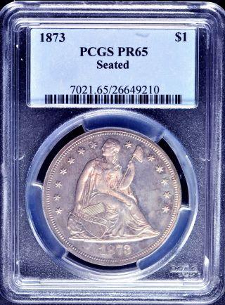 1873 Liberty Seated S$1 Pcgs Pr 65 photo