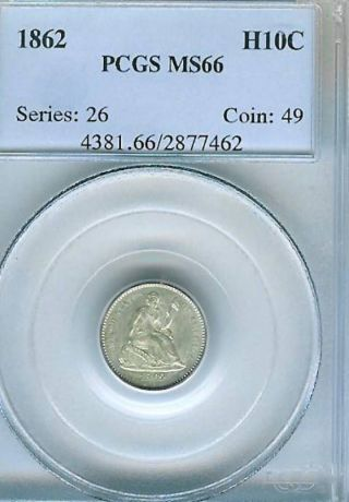 1862 Seated Half Dime : Pcgs Ms66 photo