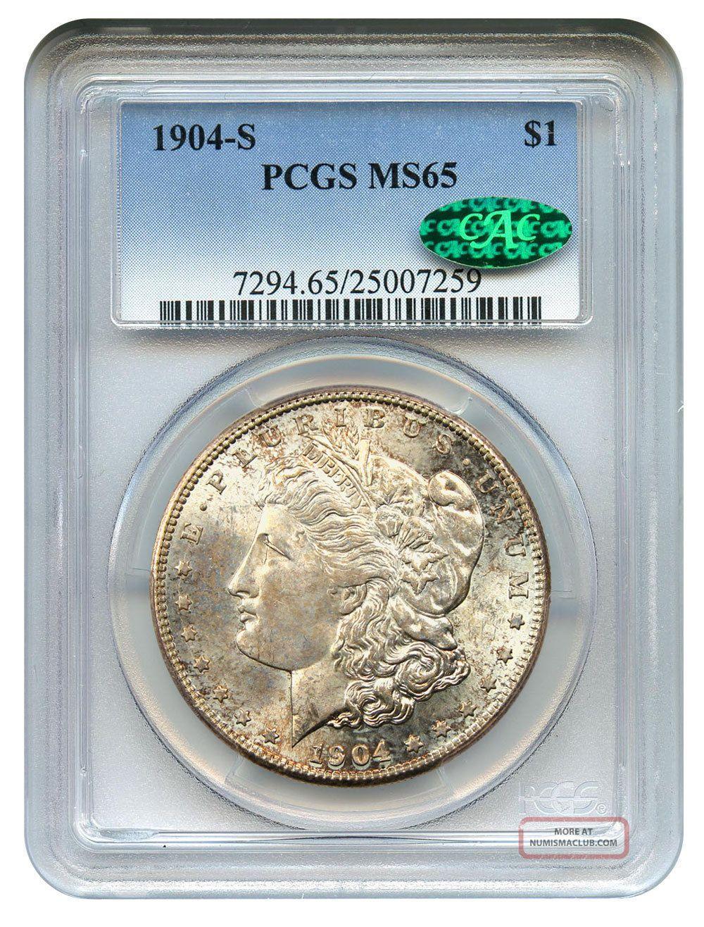 1904 - S $1 Pcgs/cac Ms65 - Key Date S - - Morgan Silver Dollar Dollars photo