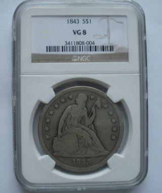 1843 Seated Liberty Silver Dollar - Ngc Graded Vg 8 photo