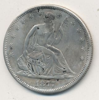 1877 - S Seated Liberty Silver Half Dollar Fantastic Sharp Detail - Great Coin photo