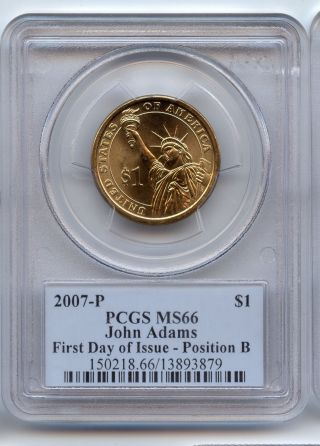 Pcgs Ms 66 John Adams First Day Of Issue Dollar Position B photo