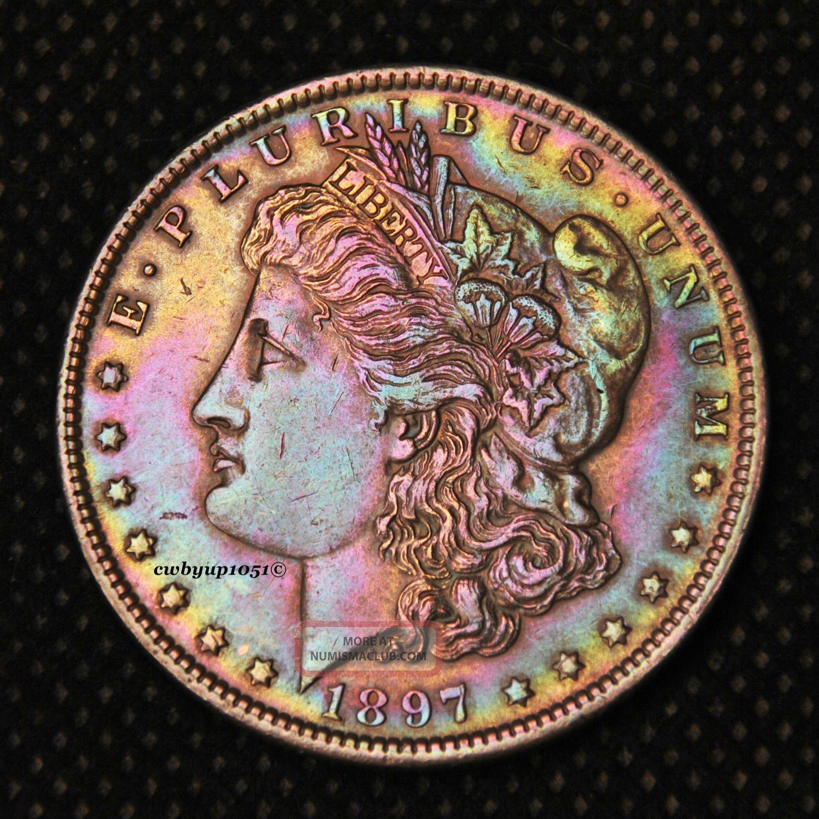 1897 P Morgan Silver Dollar Rainbow Toned Cartwheel Luster