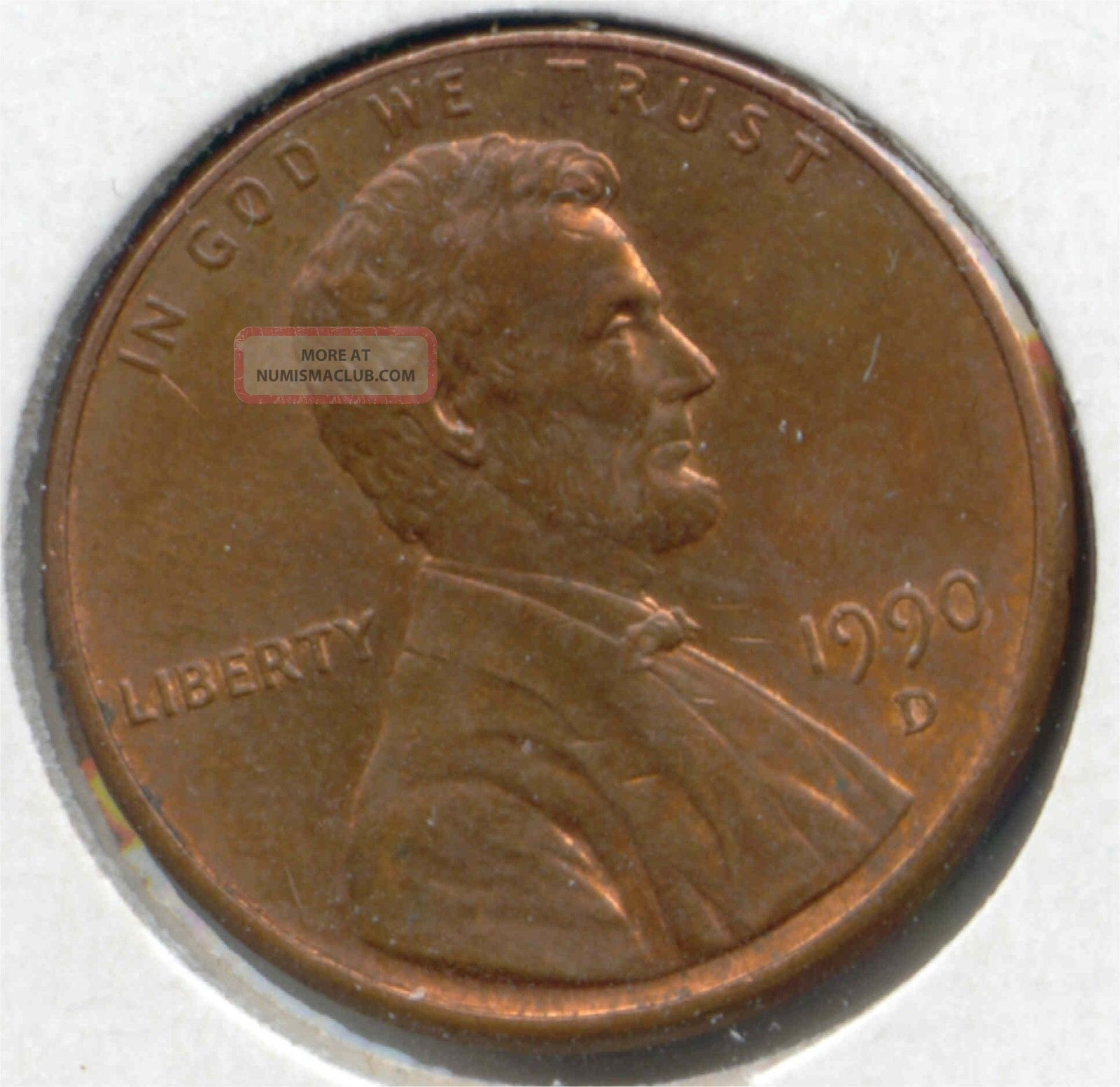 Usa 1990 D American 1 Cent Lincoln Memorial Penny 1990d 1c Exact Coin