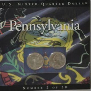 1999 D And P Pennsylvania Us Minted Washington Quarters photo