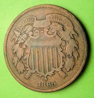 U.  S.  Two Cent Piece Dated 1865 In. photo