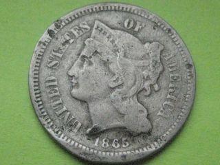 1865 Three 3 Cent Nickel - Civil War Type Coin photo