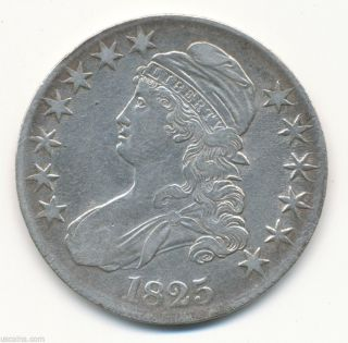 1825 50c Capped Bust Half Dollar Lettered Edge Choice Vf 01147609d photo