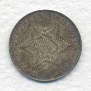 U.  S.  Three Cent Silver 1862 Grade Toned Unc.  W/ Surfaces Estate photo