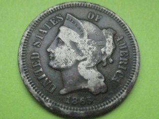 1865 Three 3 Cent Nickel - Civil War Type Coin - Vg/fine photo