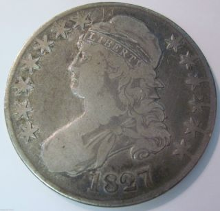 1827 Silver Bust Half Dollar Coin (1210a) photo