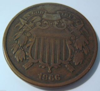 1866 Two Cents In Xf (1229o) photo