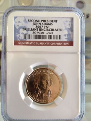 Second President John Adams 2007 P $1 Brilliant Uncirculated Ngc photo