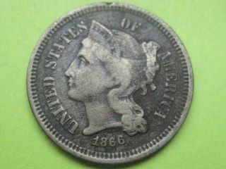 1866 Three 3 Cent Nickel - Fine/vf Details - Die Cracks? photo