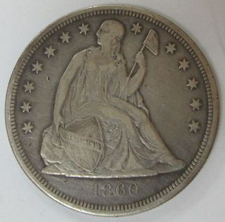 1860 - O Us Seated Liberty Silver Dollar With photo