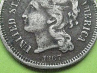 1867 Three 3 Cent Nickel - Civil War Type Coin photo