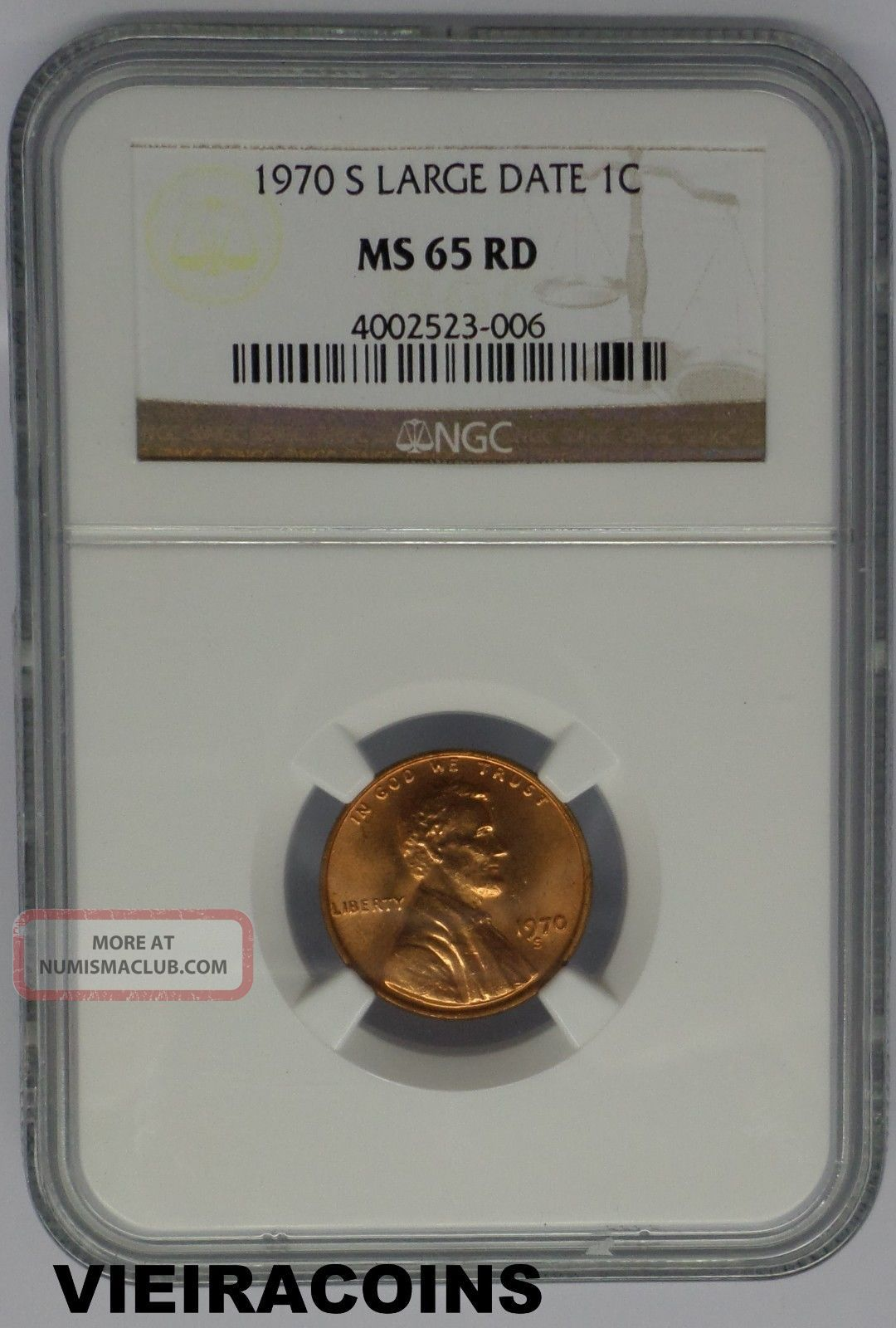 NGC Certified MS 65 RD 1970 D Lincoln 1c