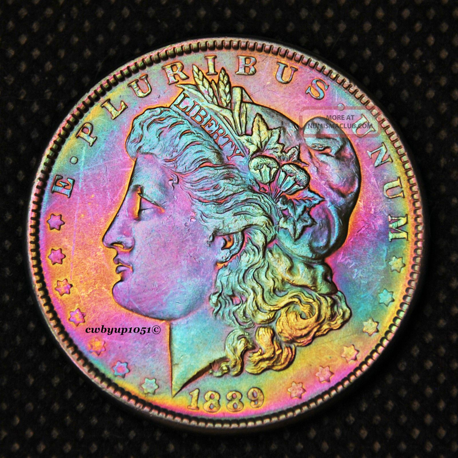 1889 P Morgan Silver Dollar Rainbow Toned Cartwheel Luster Au