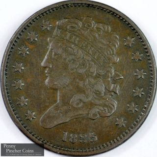 1835 Classic Head Half Cent Mid To High - Grade Brown Early America Copper Coinage photo