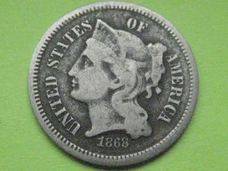 1868 Three 3 Cent Nickel - Vg/very Good Details photo