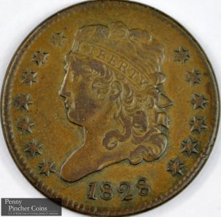 1828 Classic Head Half Cent High - Grade Brown Early America Copper Coinage photo