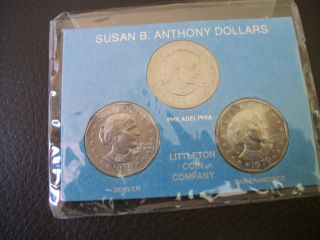 Three Susan B.  Anthony Dollars Littleton Coin Company 1979 Uncirculated photo