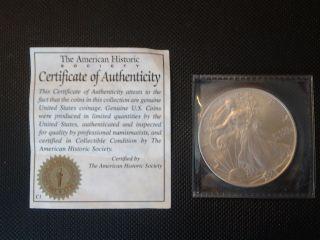 2005 American Eagle 1 Troy Ounce.  999 Fine Silver Dollar photo