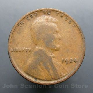 1925 S 1c Lincoln Wheat Cent Penny US Coin F Fine