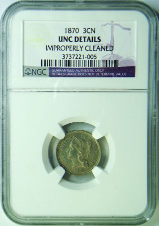 1870 3cn Three Cent Nickel Ngc Unc - Details Uncirculated Details 3 Cent Peice photo