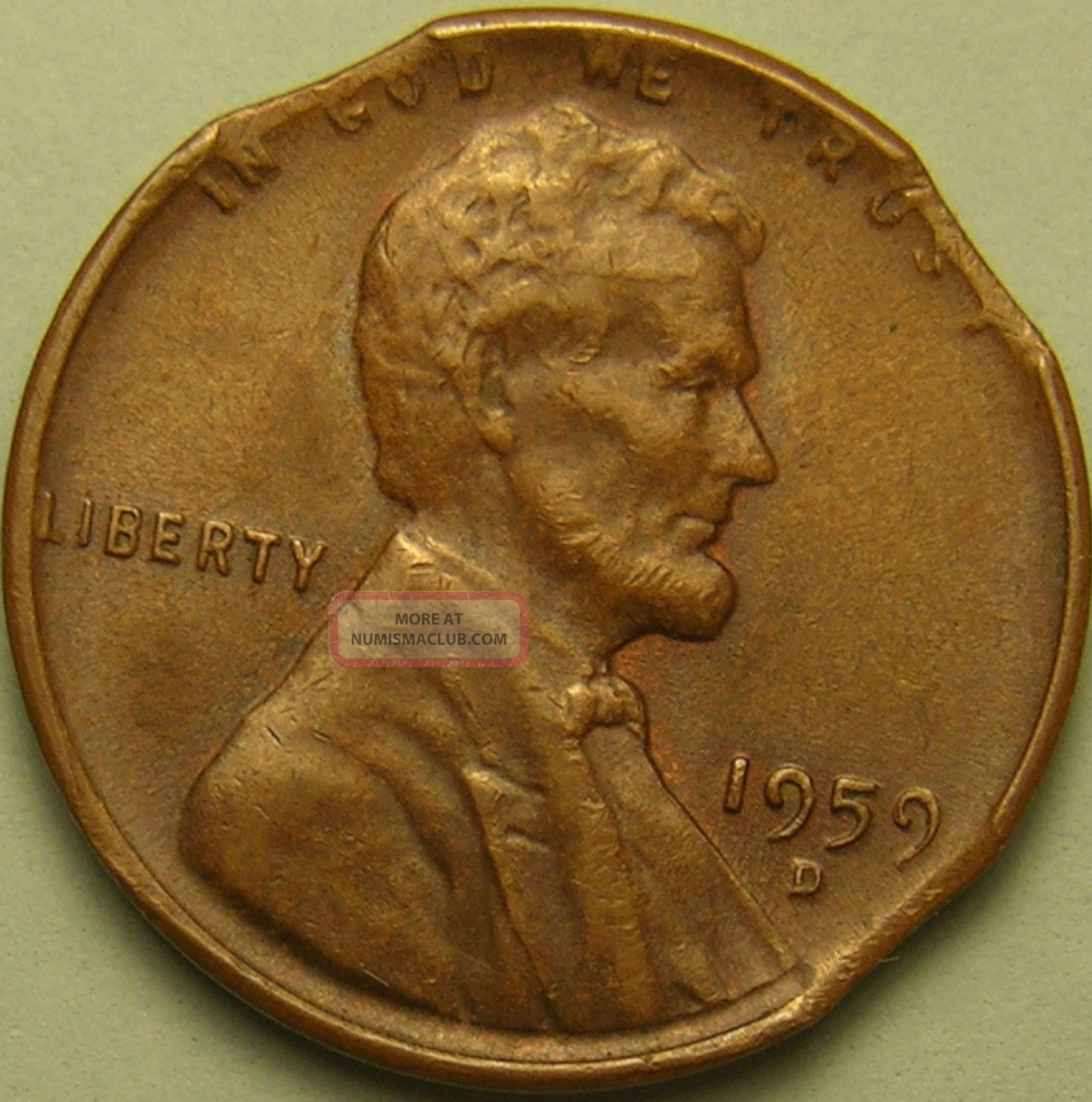 1959 D Lincoln Memorial Penny Triple Clipped Planchet