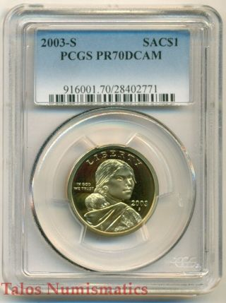 2003 S Sacagawea Native American Dollar Pr70 Dcam Pcgs photo